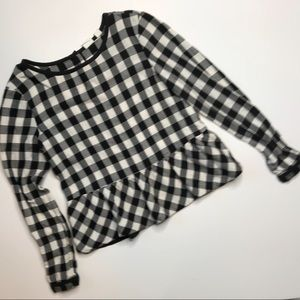 🆕 Sz 12 Gap Buffalo Plaid Peplum Blouse